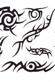 黑色线条素描文艺经典霸气图腾纹身手稿