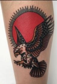 女生手臂上彩绘水彩素描创意霸气老鹰纹身图片