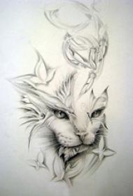 黑灰素描创意文艺唯美可爱猫咪纹身手稿