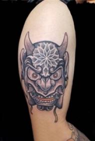 男生手臂黑色点刺几何简单线条般若纹身图片