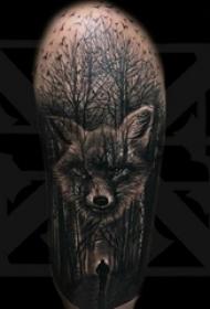 男生手臂上黑灰素描点刺技巧唯美风景精致纹身图片