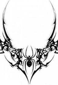 黑色线条素描创意经典昆虫纹身手稿