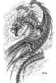 黑灰素描创意霸气火焰龙纹身手稿