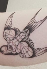 女生手臂上黑色线条素描几何元素小