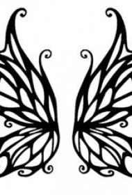 黑色线条素描创意唯美蝴蝶翅膀纹身手稿