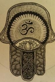 黑灰素描文艺唯美经典神圣法蒂玛之手纹身手稿