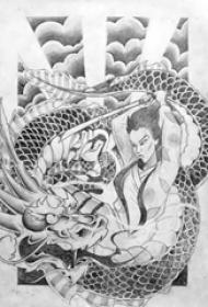 多款黑灰素描点刺技巧创意霸气武士和龙纹身手稿