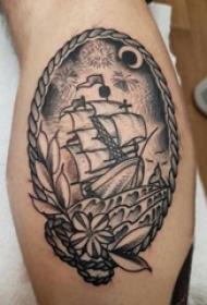 男生小腿上黑灰素描点刺技巧霸气经典帆船纹身图片