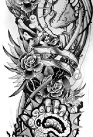 黑灰素描点刺技巧霸气经典图腾纹身手稿
