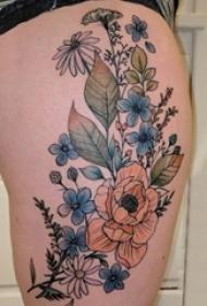 女生大腿上彩绘渐变简单线条创意植物花朵纹身图片