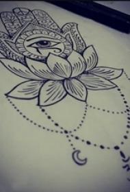 黑色线条素描文艺唯美经典吉祥法蒂玛之手纹身手稿