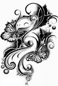 黑灰素描点刺技巧文艺小清新唯美蝴蝶纹身手稿