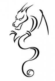 黑色线条素描创意霸气飞龙图腾纹身手稿