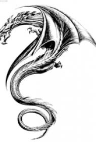 多款黑色线条素描经典霸气龙图腾纹身手稿