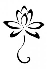 黑色线条素描创意文艺唯美精致莲花纹身手稿