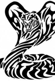 黑色线条素描创意霸气老虎纹身手稿