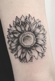 男生手臂上黑色点刺几何简单线条植物向日葵纹身图片