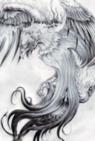 黑灰素描创意霸气展翅老鹰经典纹身手稿