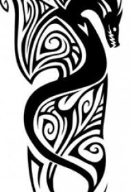 黑色线条素描创意霸气龙图腾纹身手稿