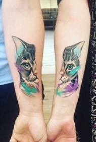 朋友友谊见证猫咪纹身图片