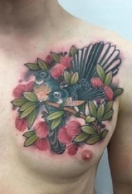 男生胸部彩绘渐变简单线条植物和小鸟纹身图片