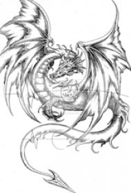 黑灰素描创意霸气飞龙纹身手稿