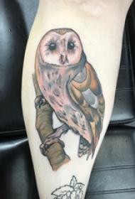 女生小腿上彩绘渐变简单线条小动物猫头鹰纹身图片