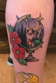 男生小腿上彩绘水彩素描文艺风景纹身图片