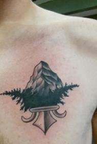 男生胸部黑色点刺简单抽象线条植物和山脉纹身图片