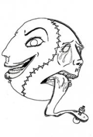 黑色线条素描创意经典传统恐怖纹身手稿