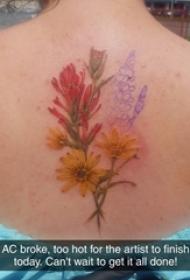 女生背部彩绘水彩素描创意唯美花朵精致纹身图片