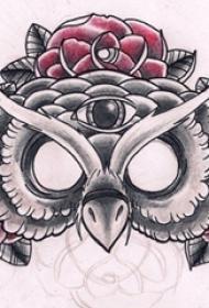 彩绘水彩素描唯美花朵霸气猫头鹰纹身手稿