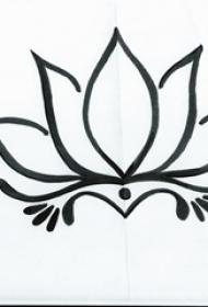 黑色线条素描创意文艺唯美莲花纹身手稿