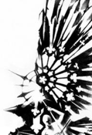 黑色线条素描创意文艺小清新唯美梵花花纹纹身手稿