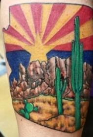 风景纹身男生手臂上沙漠风景纹身图片