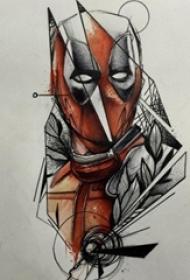 红黑素描创意霸气动漫卡通经典人物纹身手稿