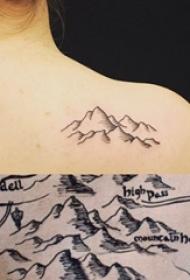 女生背部黑灰线条素描创意文艺山脉风景纹身图片