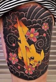 女生大腿上彩绘水彩素描可爱卡通纹身图片