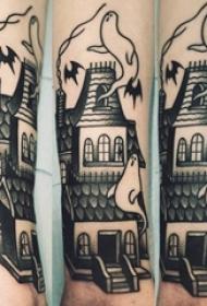 男生小腿上黑色点刺几何简单线条建筑物和幽灵纹身图片