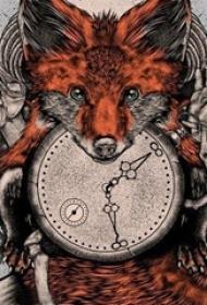 彩绘水彩素描创意文艺唯美可爱狐狸纹身手稿