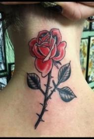 女生颈后彩绘渐变简单线条植物带刺玫瑰纹身图片