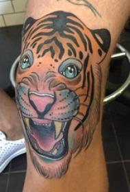 男生腿部彩绘渐变简单抽象线条小动物老虎纹身图片