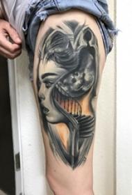女生大腿上黑灰素描点刺技巧抽象恐怖人物肖像纹身图片