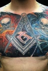 男生胸口上彩绘水彩素描创意霸气星空元素骷髅纹身图片