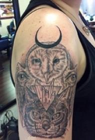 男生手臂上黑灰点刺几何线条小动物猫头鹰和猫咪纹身图片