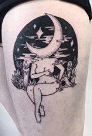 女生大腿上黑灰素描点刺技巧创意文艺抽象肖像纹身图片
