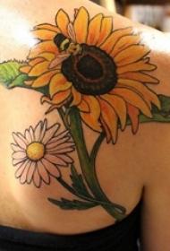 多款彩绘水彩素描创意文艺小清新精美向日葵纹身图案