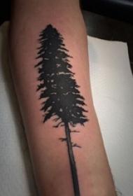男生手臂上黑色点刺简单抽象线条植物松树纹身图片