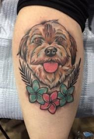 女生小腿上彩绘渐变简单线条花朵和可爱小狗纹身图片