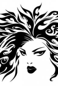 黑色线条素描创意霸气文艺女生人物肖像纹身手稿